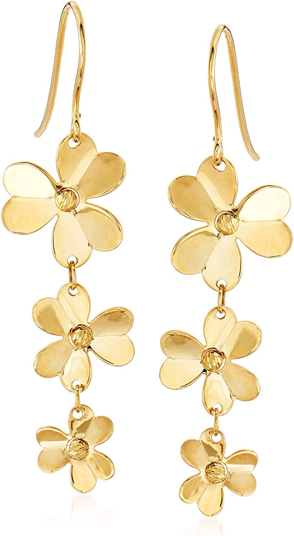 Ross-Simons Italian 14kt Yellow Gold Floral Drop Earrings