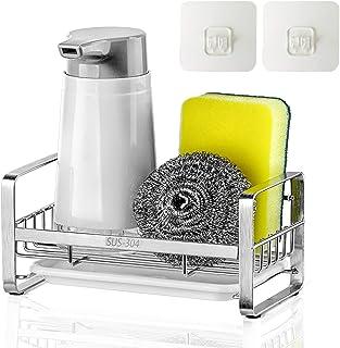 JiangWaveT Sponge Holder,SUS304 Stainless Steel Rust Proof Soap Holder for Kitchen Sink ,Kitchen Sink Organizer, Sink Cadd...