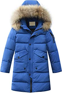 Boys' Hooded Down Coats Winter Warm Jacket Solid Puffer Coat
