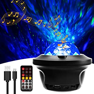 Proyector de luz nocturna con proyector de estrellas, proyector de onda del océano con altavoz Bluetooth, temporizador de control remoto, para niños y adultos, regalos para decoración de fiesta