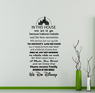 in This House We Do Disney Wall Decal Walt Disney Quote Lettering Gift Cartoon Vinyl Sticker Home Gift Nursery Playroom Kids Baby Room Art Stencil Decor Mural Removable Poster 116ct