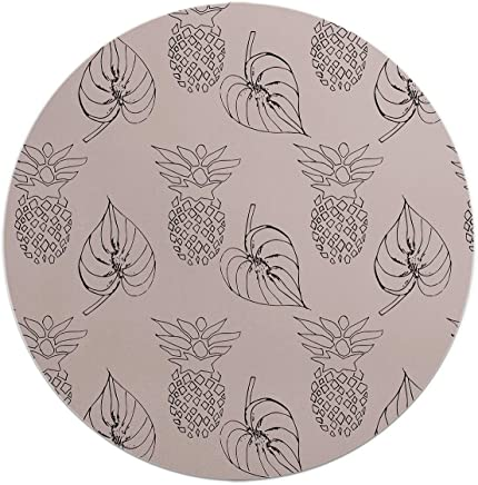 Loud Universe Linear Pineapple And Leafy Round Flexible Mouse Pad