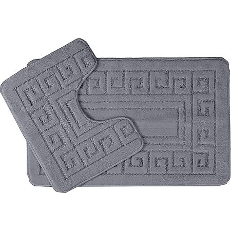 Lot de 2 tapis de bain antidérapants Style grec, 13 couleurs, Microfibre, charbon, 50 x 75