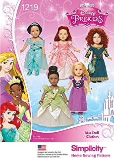 Simplicity 1219 Disney Princess 18'' Doll Clothes Costume Sewing Patterns, One Size Only