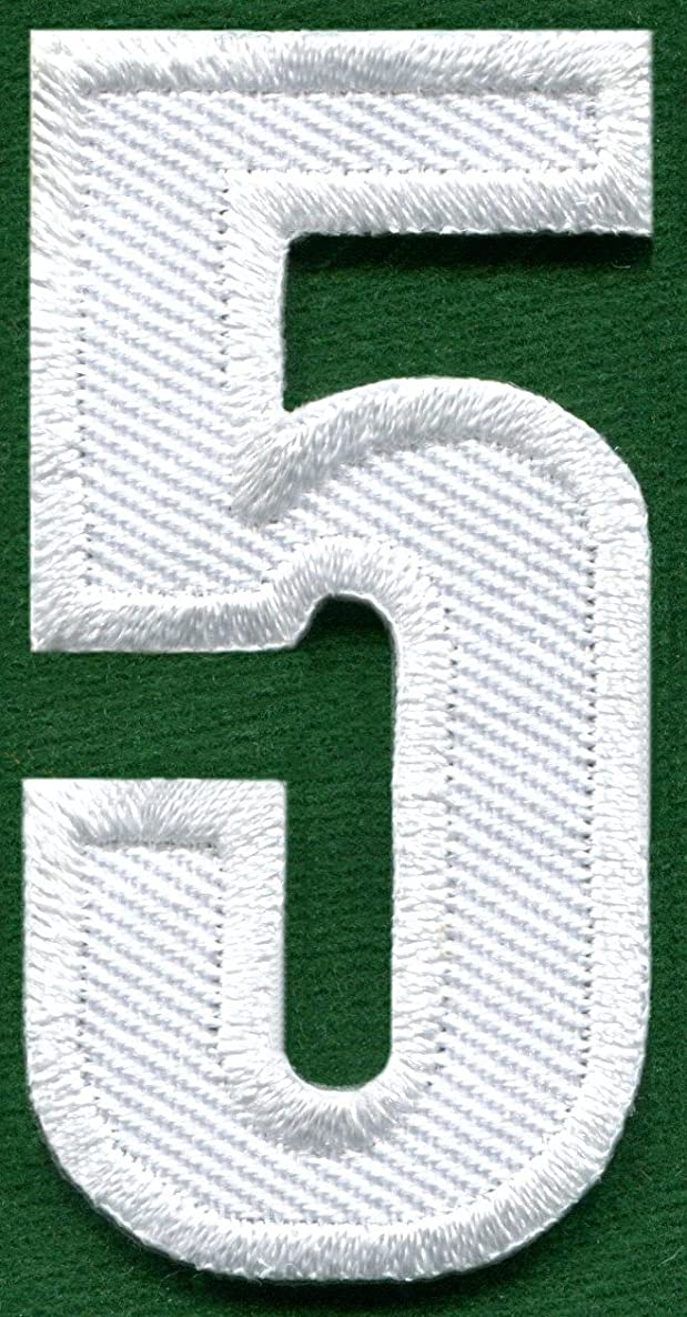 Number 5 numeral math counting # five school white embroidered applique iron-on patch new