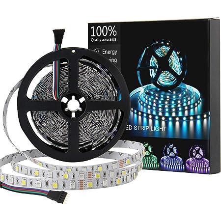 SUPERNIGHT LED Strip Light, 5050 16.4ft RGBW Non-Waterproof LED Flexible Lighting, 12V 300LEDs, 5M Multi-Colored LED Tape Lights