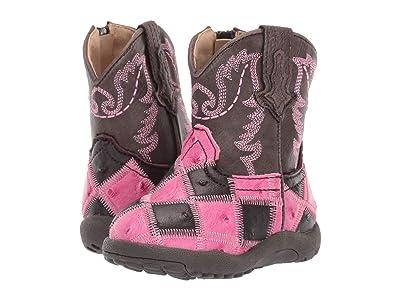 Roper Kids Bird Blocks (Infant/Toddler) (Faux Ostrich Vamp/Brown Shaft) Girls Shoes