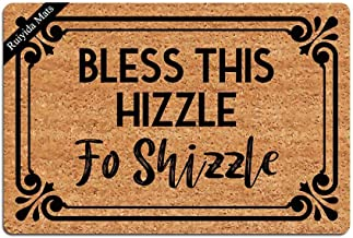Entrance Mat Bless This Hizzle Fo Shizzle Funny Doormat Door Mat Decorative Indoor Doormat Non-Woven 23.6 by 15.7 Inch Mac...