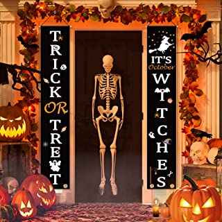 UTOPP Halloween Hanging Banner, Outdoor Signs for Halloween Decorations Outdoor, Trick or Treat & It's October Witches Halloween Welcome Signs, Porch Decoration for Indoor/Outdoor Home,Graden
