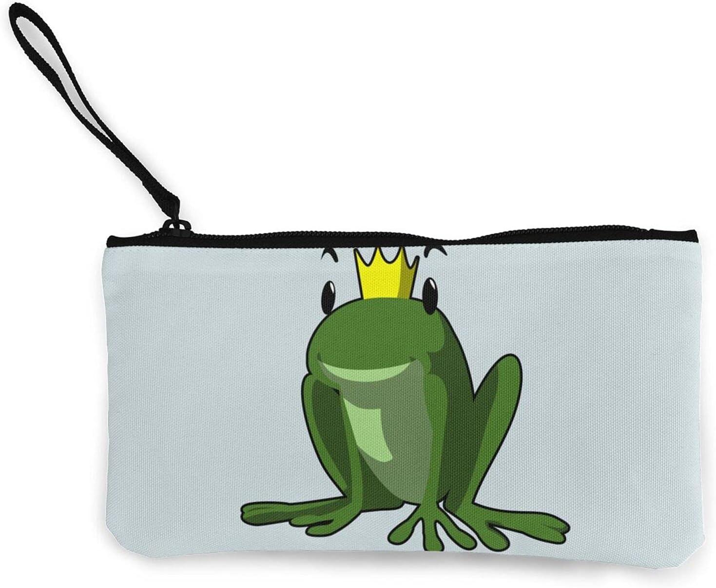 AORRUAM Frog Prince Crown Canvas Coin Purse,Canvas Zipper Pencil Cases,Canvas Change Purse Pouch Mini Wallet Coin Bag