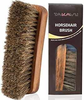 ( 1) - TAKAVU 17cm Horsehair Shoe Shine Brush with Horse Hair Bristles by for Boots, Shoes & Other Leather Care ( 1)