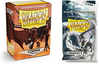 Dragon Shield Bundle: Matte Copper 100 Count Standard Size Deck Protector Sleeves + 100 Count Clear Perfect Fit Inner Card Sleeves