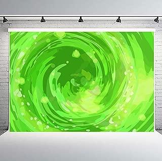 PHMOJEN Green Portal Backdrop Vinyl 10x7ft Rick Morty Theme Photography Background Party Supplies LHPH702
