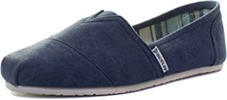 Dunlop Navy Canvas Leather Insole Mens Slip On Espadrilles