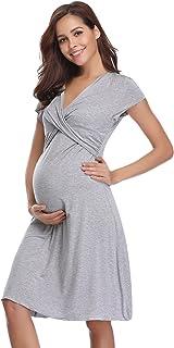02674e9b0354 Hawiton Camisón Lactancia Pijama Embarazada Algodón Ropa para Dormir  Premamá Manga Corta Hospital Verano