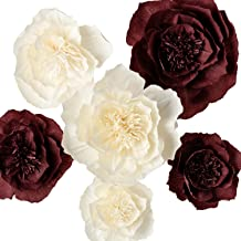 Paper Flower Decorations, Giant Paper Flowers, Large Crepe Paper Flowers (Beige, Burgundy Set of 6), Handcrafted Flowers for Wedding Decor, Bridal Shower, Baby Shower, Nursery Wall Decorations