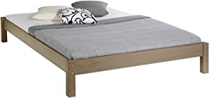 IDIMEX Lit futon Double pour Adulte Taifun 140 x 190 cm, 2 Personnes, 2 Places, pin Massif lasuré Taupe