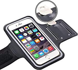 Water Resistant Cell Phone Armband Case Running Holder for iPhone Pro Max Plus Mini SE (12/11/X/XS/XR/8/7/6/5) Galaxy S Ultra Plus Lite Edge Note (21/20/10/9/8/7/6/5) Adjustable Strap Pocket Key