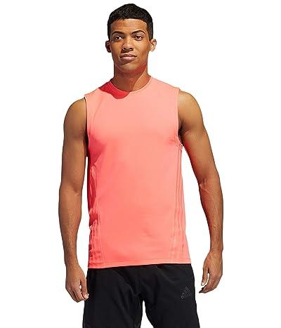 adidas Aero 3-Stripes Sleeveless Tee (Signal Pink) Men