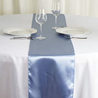 BalsaCircle 10 pcs 12 x 108 inch Periwinkle Satin Table Runners Wedding Table Top Party Supplies Reception Linens Decorations