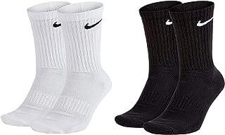 NIKE, 4 pares de calcetines largos para hombre y mujer, SX4508, color blanco o negro, tamaño: 38-42, paquete de calcetines: 2 pares blancos y 2 pares negros