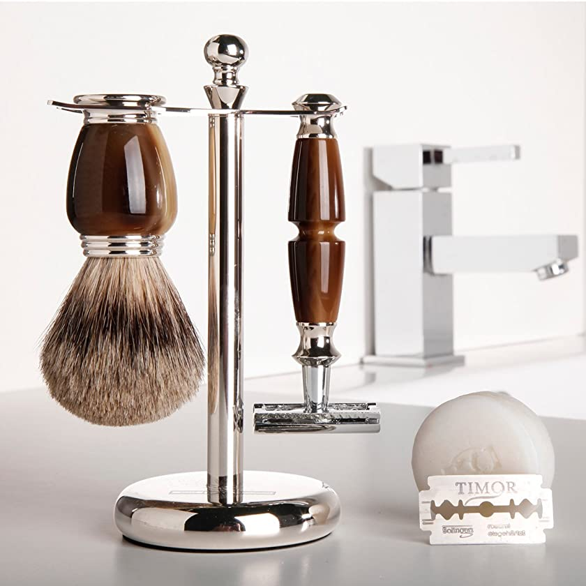 オールリー呼ぶGOLDDACHS Shaving Set, Safety Razor, Finest Badger, Galalith