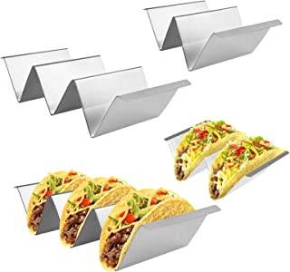 Fortomorrow 4 Packs Taco Holders Set with Handles, Stainless Steel Taco Stand Taco Trays, Hold 2 or 3 Hard or Soft Shell T...