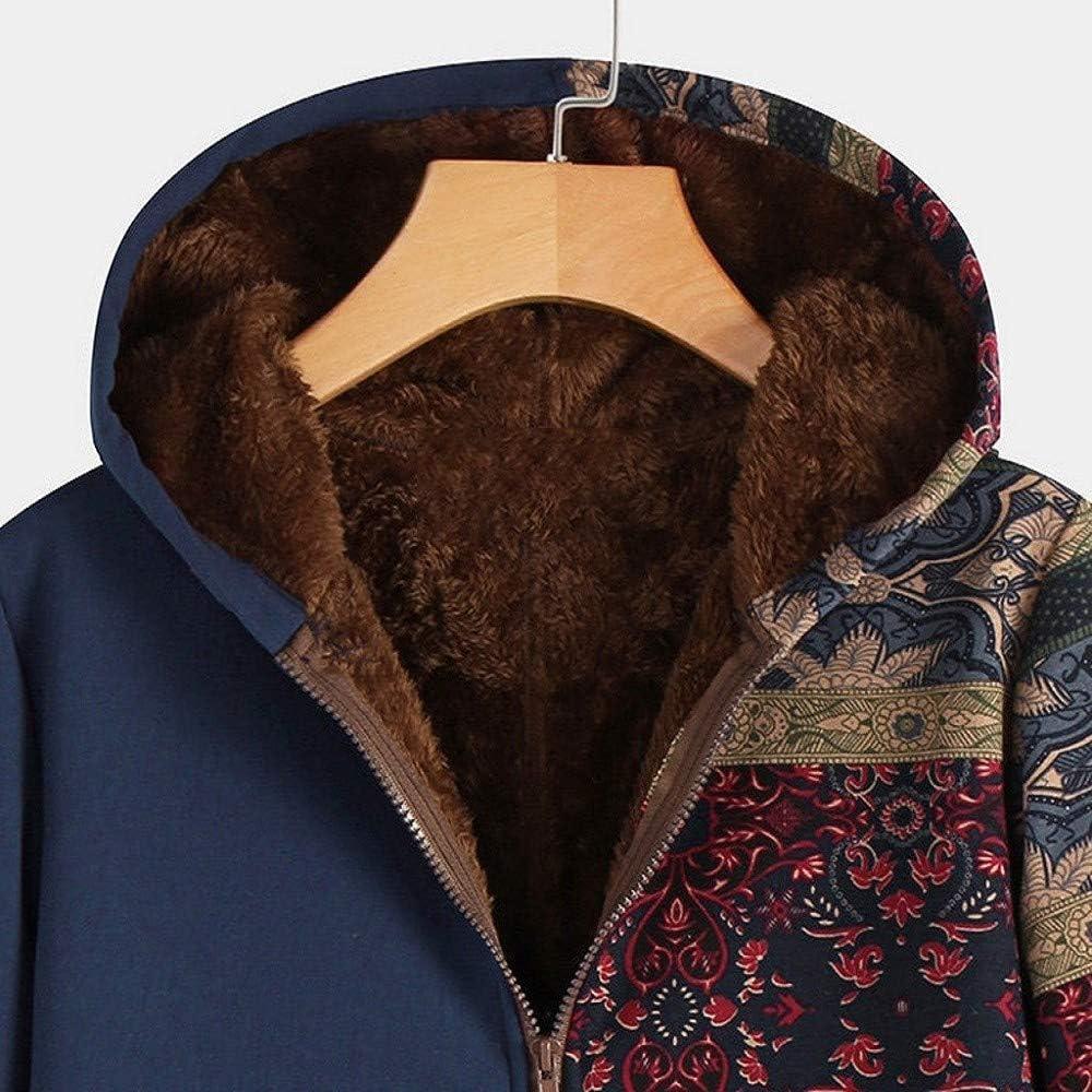 Damen Jacke Mantel Vintage Kapuzenjacke Winter Warmer Hoodie Fleece Teddyfell Dicke Wollmantel mit Kapuze Winterjacke Reißverschluss Parka Outwear A-blau