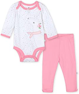 Just Born Baby Girls 2-Piece Organic Long Sleeve Onesies Bodysuit and Pant Set Toddler Layette, Lil