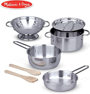 Melissa & Doug Let's Play House! Stainless Steel Pots & Pans Play Set for Kids Construction, 8 Pieces, 33.02 cm H x 15.24 cm W x 15.24 cm L)
