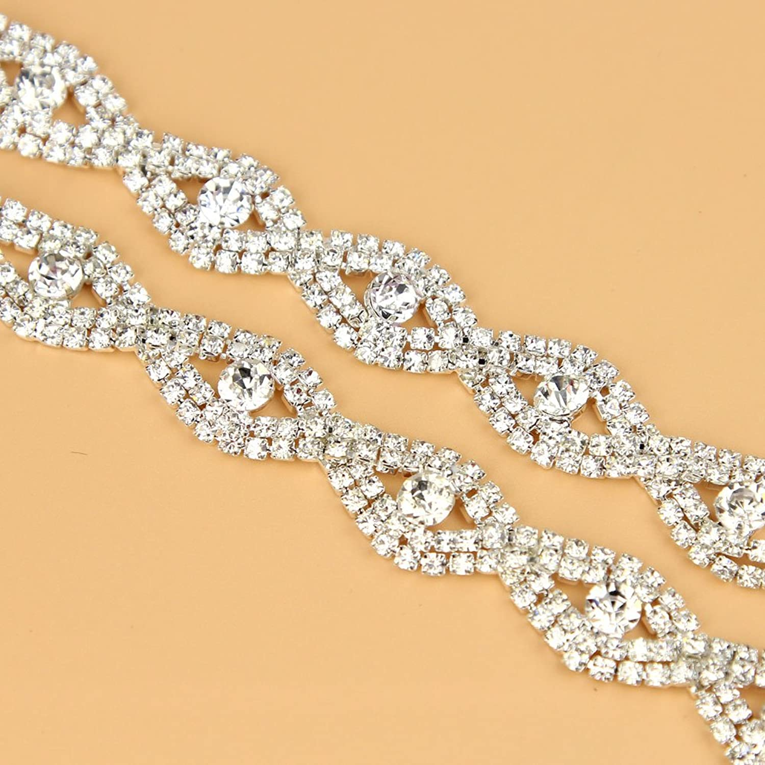 De.De. 1 Yard Elegant Crystal Clear Glass Rhinestone Applique Bridal Trim/Chain Silver