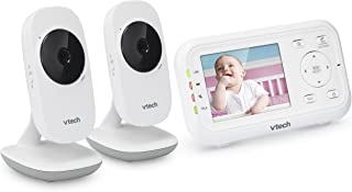 "VTech VM3252-2 2.8"" Digital Video Baby Monitor with 2 Cameras and Automatic Night Vision, White"