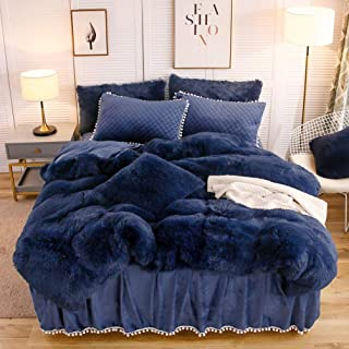 LIFEREVO Luxury Plush Shaggy Duvet Cover Set (1 Faux Fur Duvet Cover + 2 Pompoms Fringe..