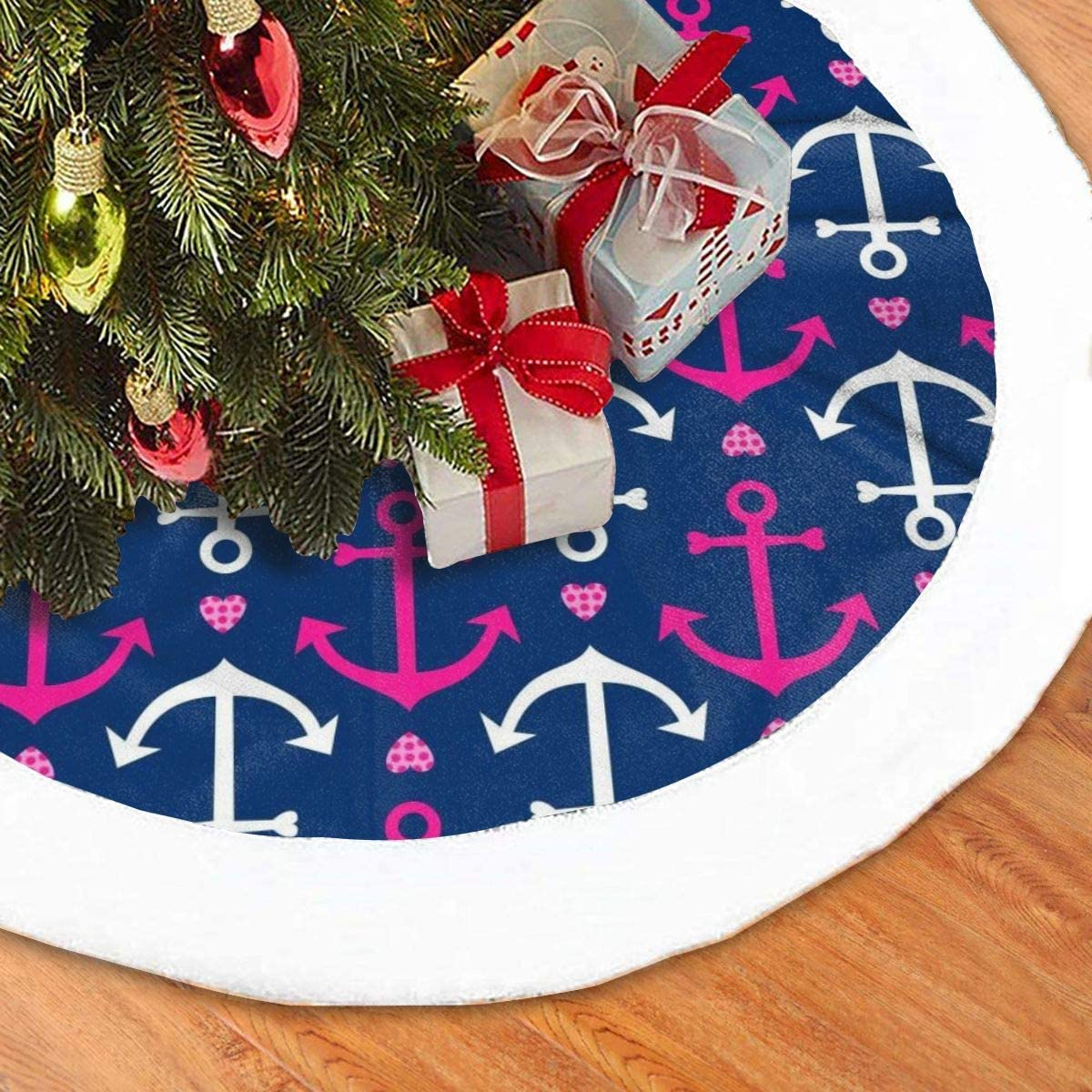 Amazon Com Christmas Tree Skirt 48 Inches Anchors Hearts Navy Pink Large Xmas Skirt Rustic Xmas Tree Holiday Decorations Home Kitchen