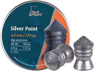 Haendler & Natermann PY-P-734H&N Silver Point Pointed Airgun Pellets .177 Caliber / 11.57 Grains, (500 Count), Gray