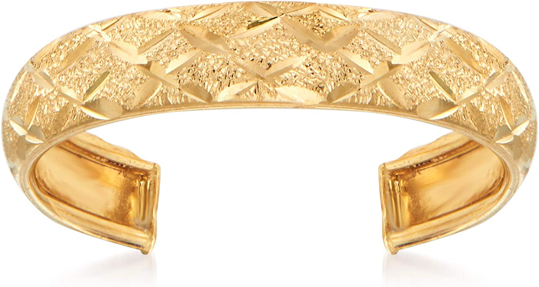 Ross-Simons 14kt Yellow Gold Diamond-Cut Adjustable Toe Ring