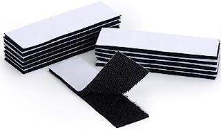 EOTW Belcro Adhesivo Doble Cara 12 Unidades 30 * 100 mm Mosquitera Ventana Pegatinas Pegajosas tiras de Gancho y lazo con Extra Fuerte Pegado Adhesivo Nylon Negro (30 * 100mm-12pcs)