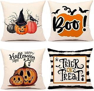 ohcoolstule 4 Stuks Halloween Kussensloop Oranje En Zwart Kussensloop Happy Halloween Linnen Slaapbank Gooi Kussenhoes Dec...