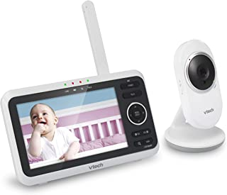 """VTech VM350 5"""" Digital Video Baby Monitor with Full-Color and Automatic Night Vision, White"""