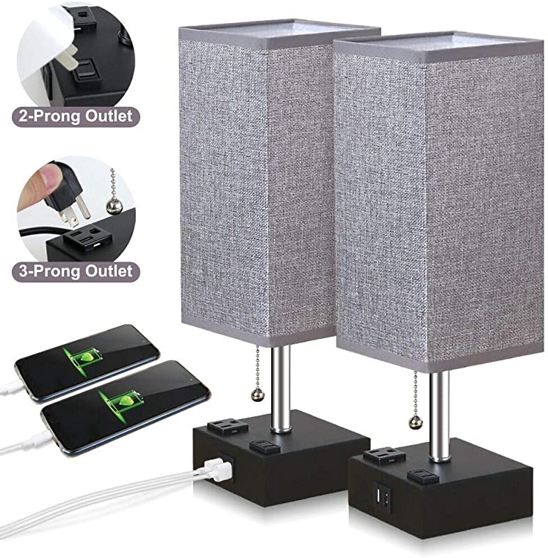 ZEEFO USB Table Lamp Gray Square Fabric Shade Bedside Table Lamp With Two AC Outlet Fast Dual USB Charging Ports Modern Design Desk Lamp Ideal For Bedroom Office Guest Room Kids Room Set Of 2
