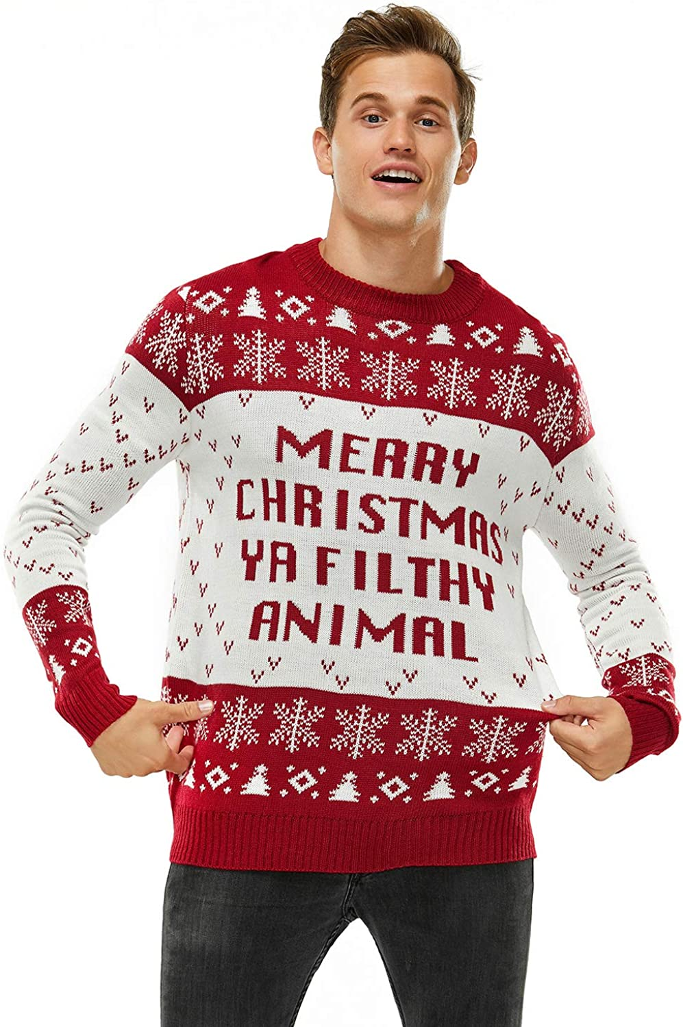Funny Chunky Knit Xmas Pullover Festive Fair Isle Crowdneck Long Sleeve Jumper for Christmas Jumper Party Ugly Christmas Sweater for Men