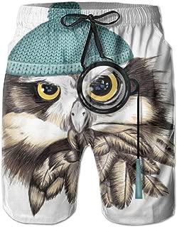 Mens Beach Shorts Pirate Owl Swim Trunks Male Swimsuit Quick Dry