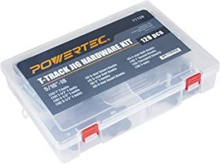 POWERTEC 71128 Jig and Fixture T-Track Hardware Kit w/Knobs and 5/16-18 Threads | 128 Piece Set