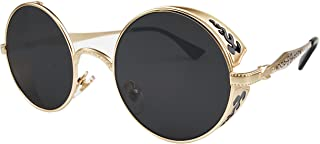 VIVIAN & VINCENT Hippie Retro Vintage Round Sunglasses for women men Metal Frame Shades Gold
