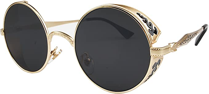 Steampunk Accessories | Goggles, Gears, Glasses, Guns, Mask Hippie Retro Vintage John Lennon Glasses Round Circle Sunglasses for women men Metal Frame Shades Eyewear  AT vintagedancer.com