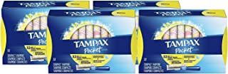 Tampax Pocket Pearl Plastic Tampons, Regular Absorbency, Unscented, 32 Count, Pack of 4