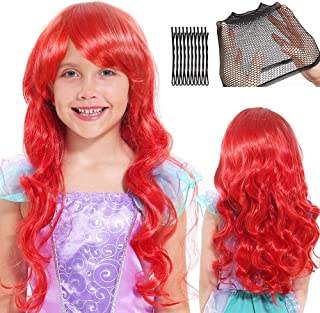 Dissytoys Mermaid Wig Halloween Party Costume Princess Cosplay Long Red Wavy Hair with Hair Clips Hairnet for Kids Girls