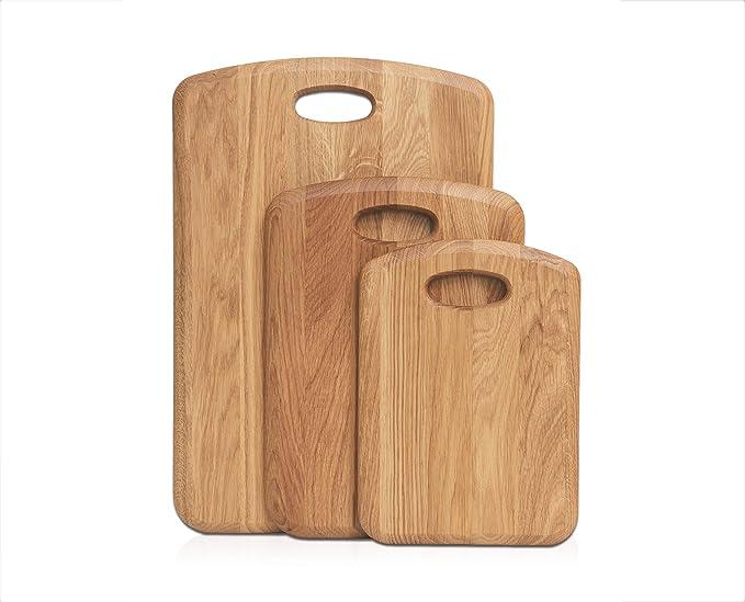 GreenHaus Schneidebrett Eiche Holz 30x18x4 cm cm Handarbeit und Massivholz aus Deutschland Holzschneidebrett Servierbrett Holzbrett