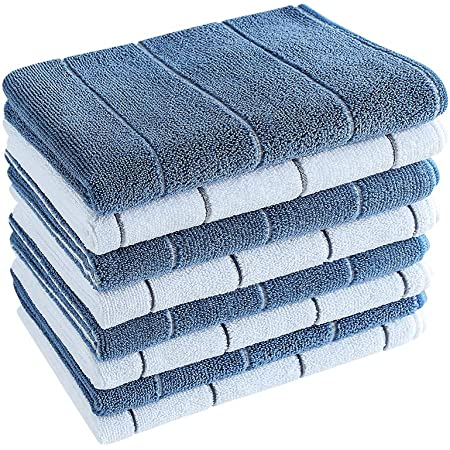 Microfiber Kitchen Towels - Super Absorbent, Soft and Solid Color Dish Towels, 8 Pack (Stripe Designed Blue and White Colors), 26 x 18 Inch