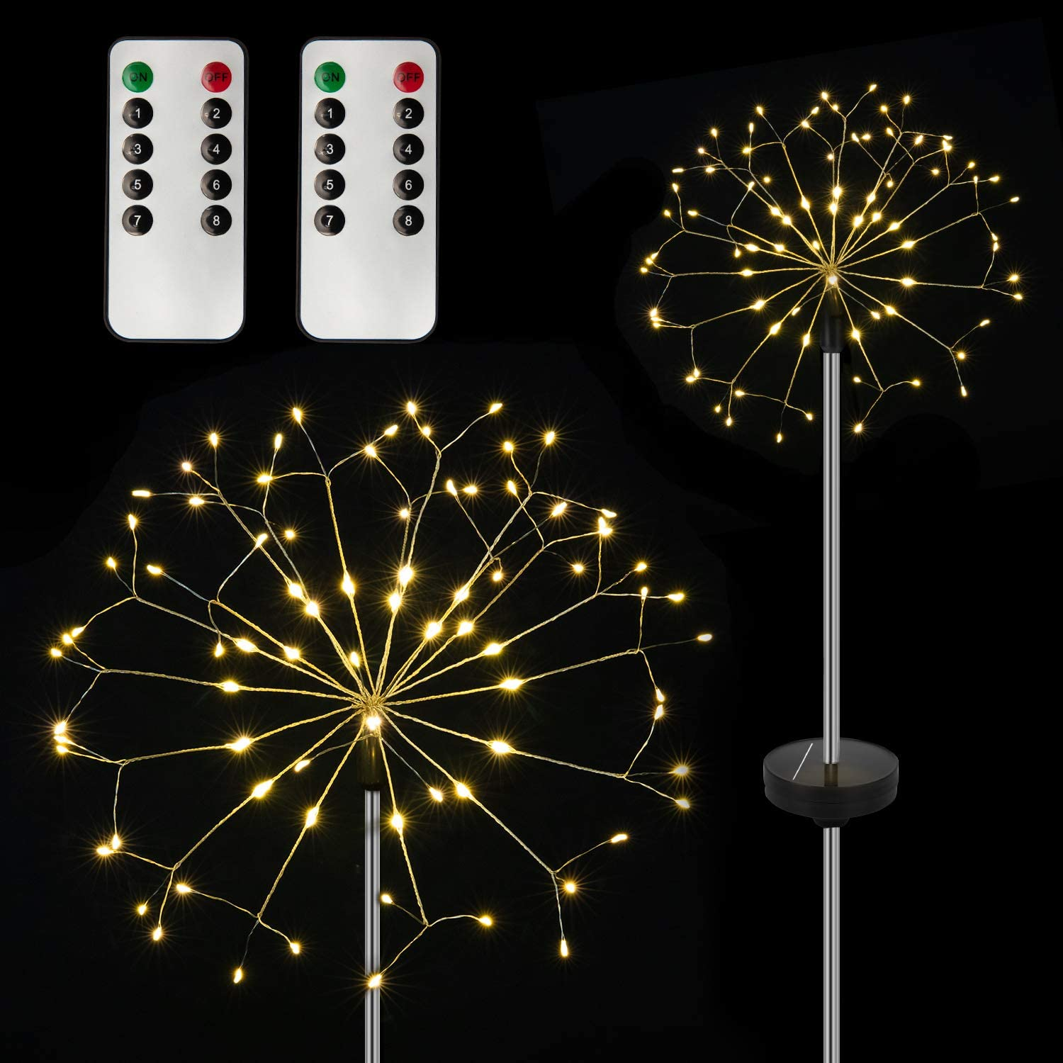 Direct sale of Ranking TOP9 manufacturer KKAAyueqin 2 Pack Solar Fireworks 8 Lights LED Mode 120